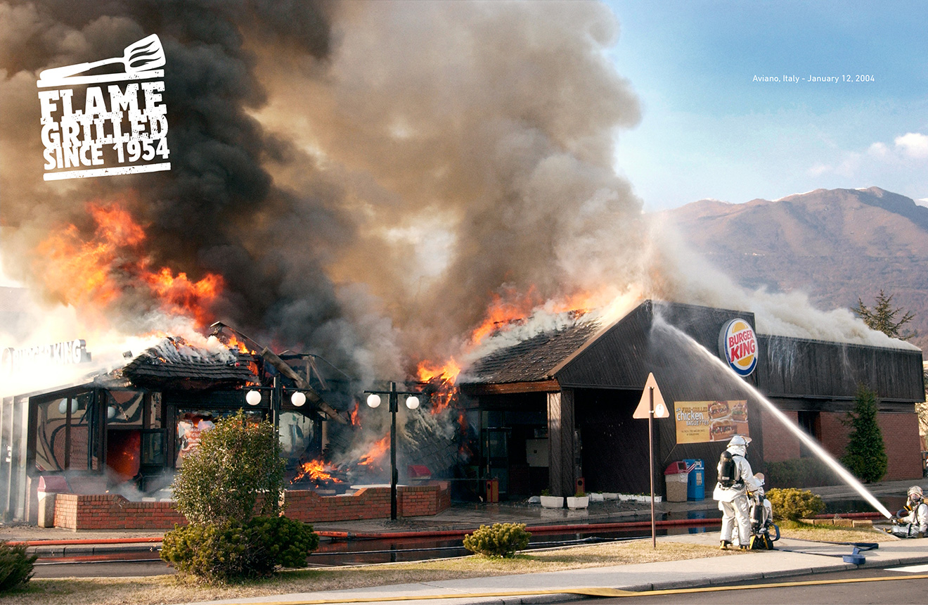 why burger king u0027s u0027burning stores u0027 are the perfect print ads for