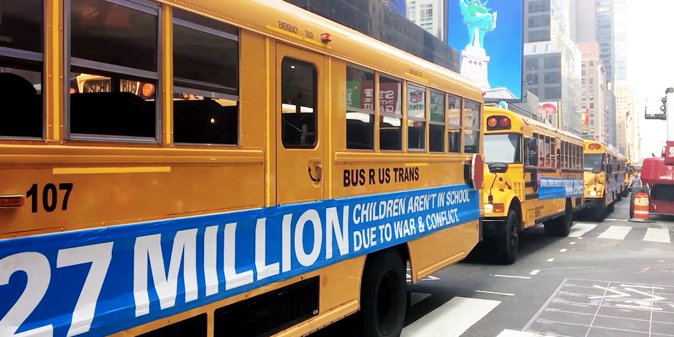 Unicef Drove 27 Empty School Buses Through Nyc In Striking Stunt About Kids And War Adweek