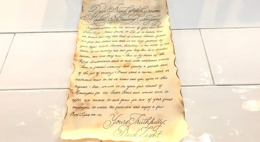 Bud Light Sent a Hilarious Cease-and-Desist Scroll to the Makers of 'Dilly Dilly' Ale