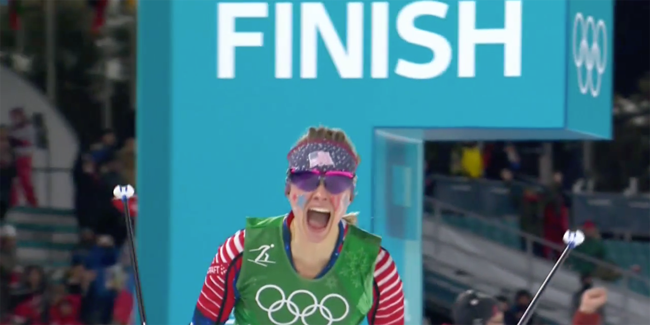 Comcast Spliced Footage of Jessie Diggins' Historic Gold Medal Win Into Its Epic Same-Day Olympics Spot