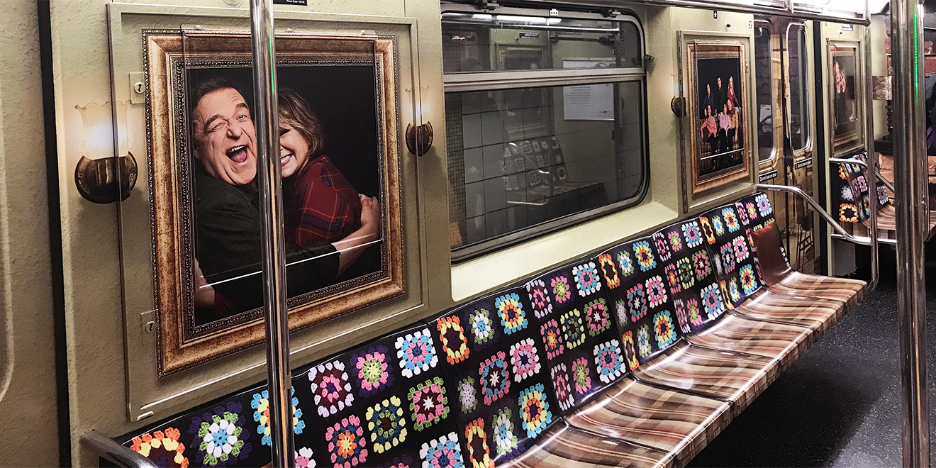 abc turns a new york subway train into roseanne s iconic tv living room afghan included adweek. Black Bedroom Furniture Sets. Home Design Ideas
