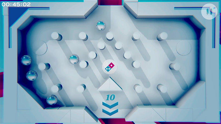 Piece of the Pie Pursuit puts players in the middle of a Rube Goldberg  machine. Domino's Pizza