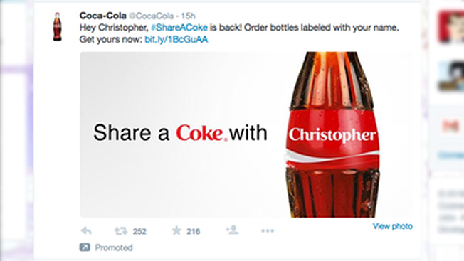 coke u2019s new twitter ads call out viewers by name  u2013 adweek