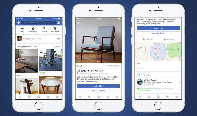 facebook launches marketplace to let users buy and sell items adweek. Black Bedroom Furniture Sets. Home Design Ideas