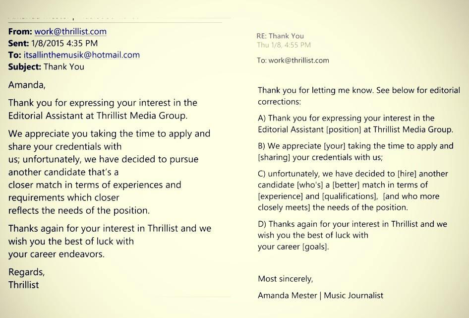 Woman Responds To Thrillistu0027s Job Rejection Letter By Publicly Correcting  Its Grammar