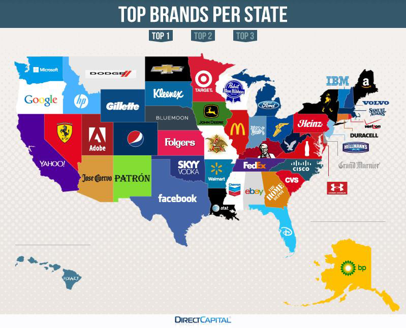 this map of the u s shows the most googled brand in each state