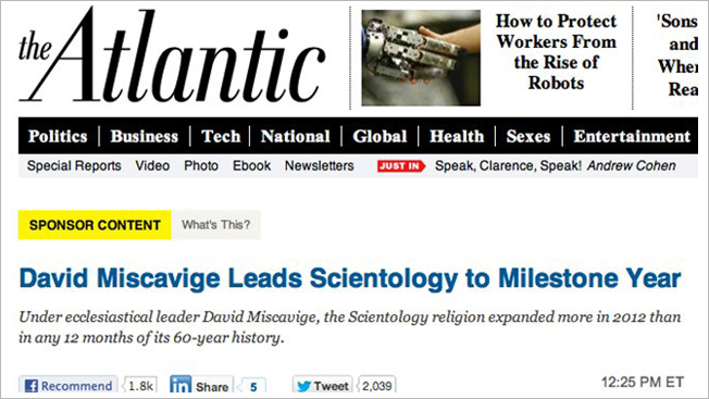 After scientology debacle the atlantic tightens native ad sponsored content will become more prominent on the site fandeluxe Ebook collections