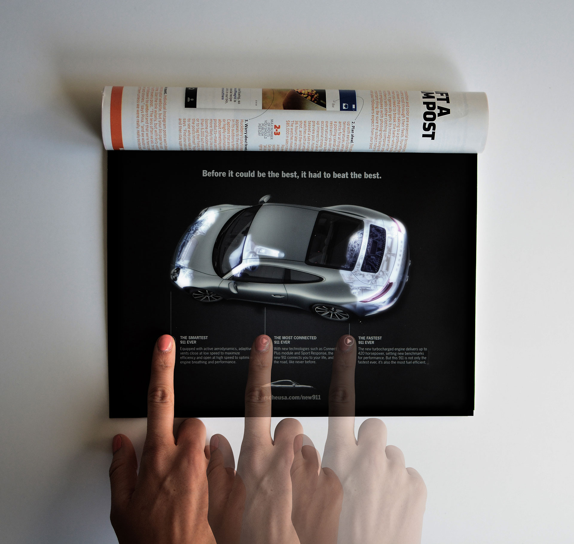Ad of the Day: This Porsche Magazine Ad Uses LEDs to Light Up the ...