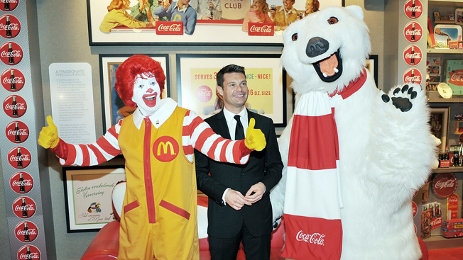Ronald McDonald, Ryan Seacrest of American Idol, and the Coca-Cola Polar Bear