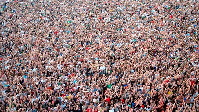 The crowd watching Foo Fighters perform at Hyde Park on June 1.