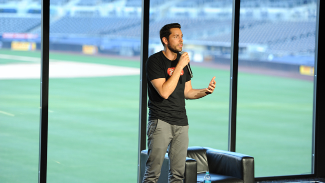 Zachary Levi hosts a Nerd HQ panel at Petco Park.