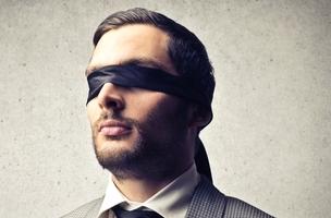 A blindfolded man