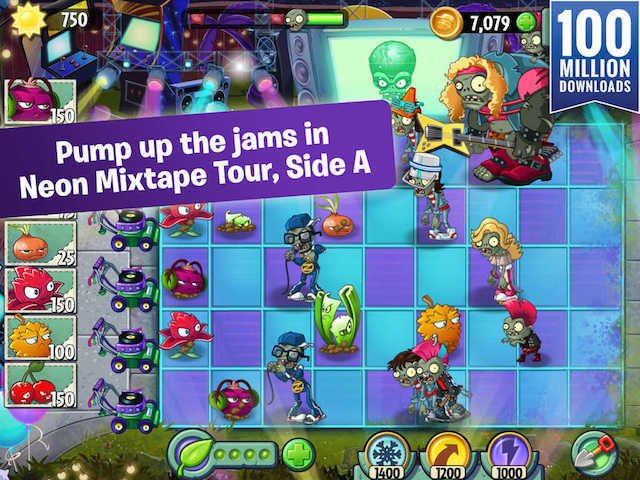 Plants vs zombies 2 receives 1980s content update adweek ea mobile has released the latest major content update for its popular mobile tower defense game plants vs zombies 2 entitled neon mixtape tour side a voltagebd Gallery