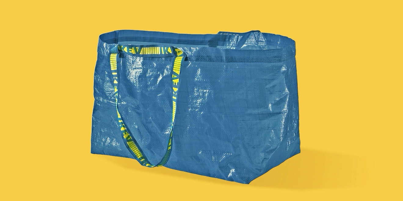 Ikea Packages Instructions With Its Blue Bag On How To Cut It Into