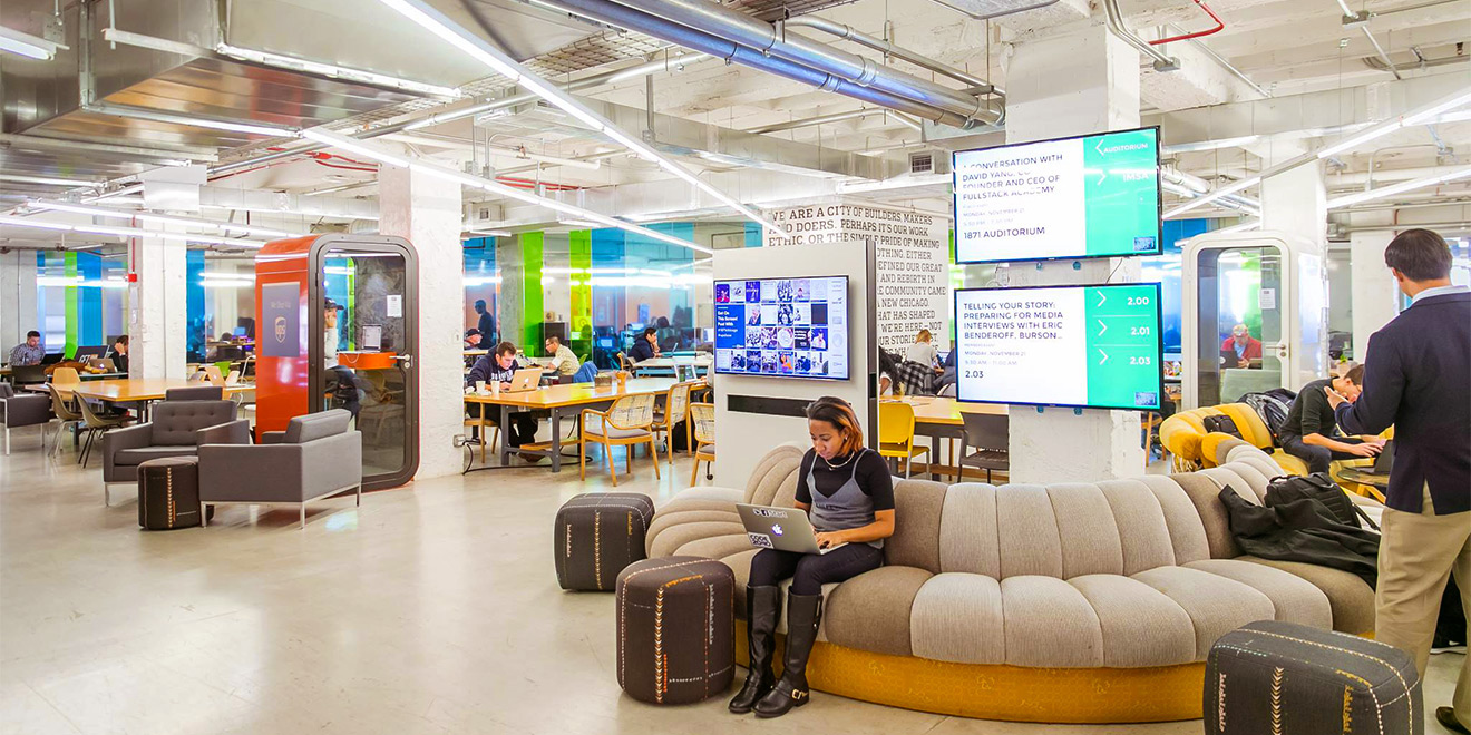 Tech incubator 1871 houses hundreds of startups.