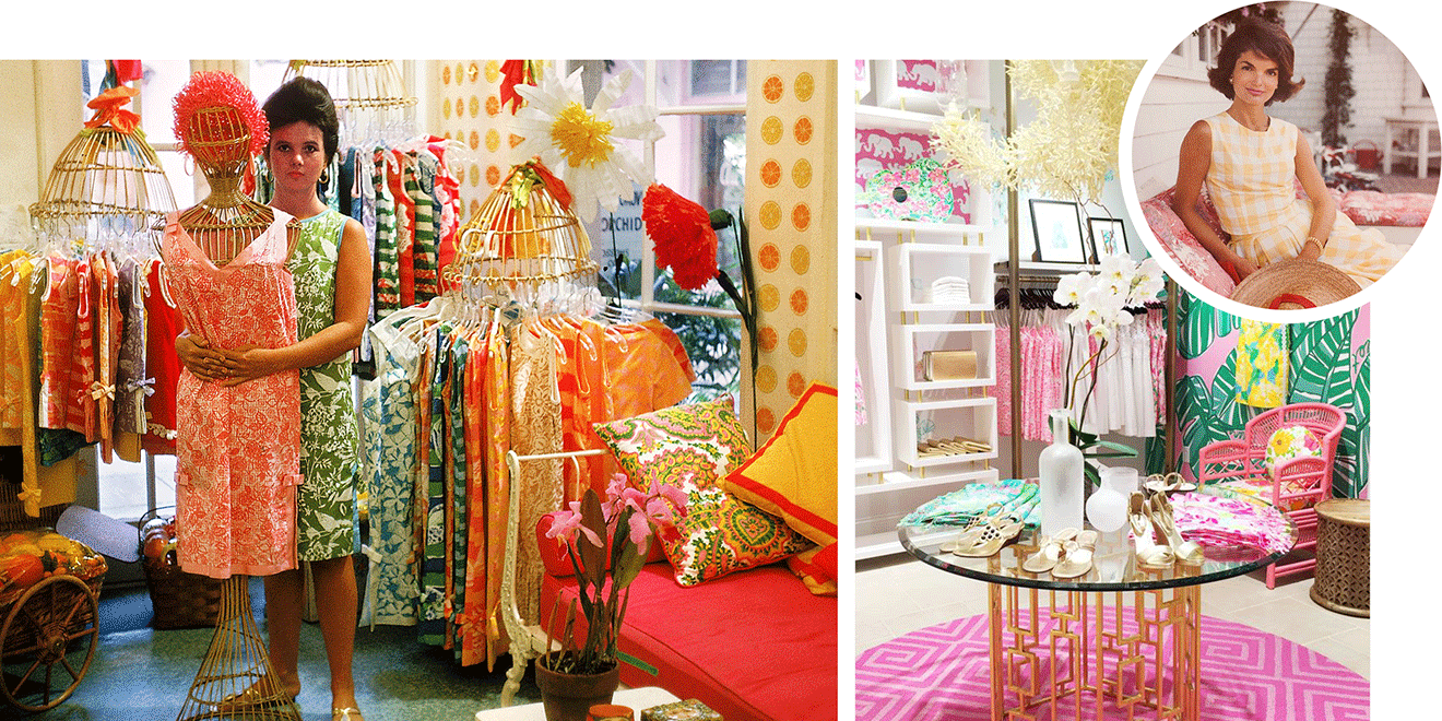 e3cc80e96bec7e Palm Beach socialite Lilly Pulitzer (above, in her first shop) wore her  self-designed shifts to cover up juice stains. But her maritime-themed, ...