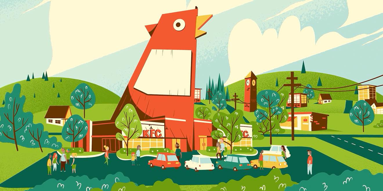 the giant chicken from kfc s marietta georgia store springs to