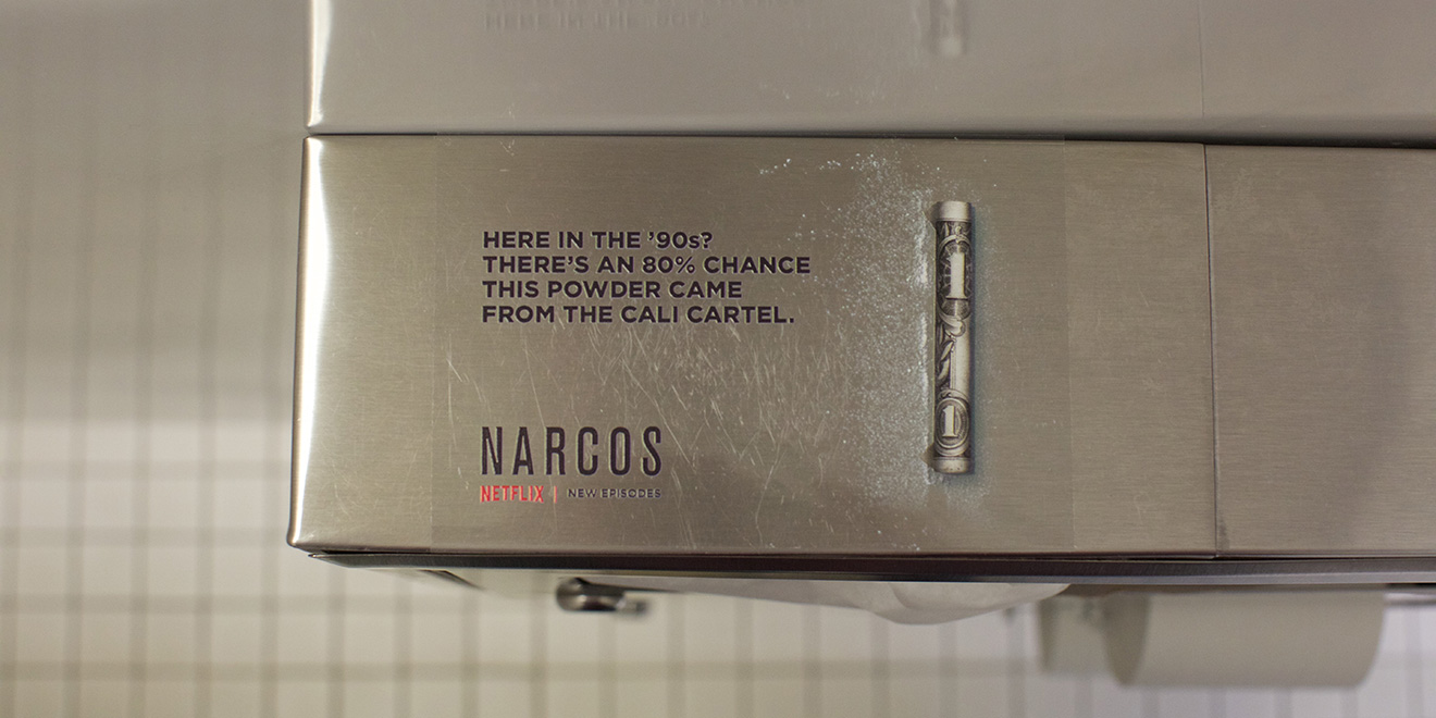 Netflix's Secretive New Narcos Ads Are Popping Up, Cocaine-Like, in Nightclub Bathrooms
