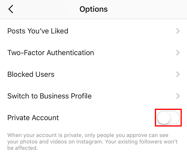 The button to turn on the private account setting is highlighted.