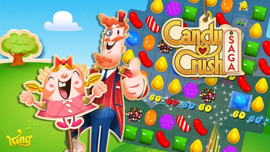 A Candy Crush: Saga poster, picturing two characters, a logo, and gameplay.