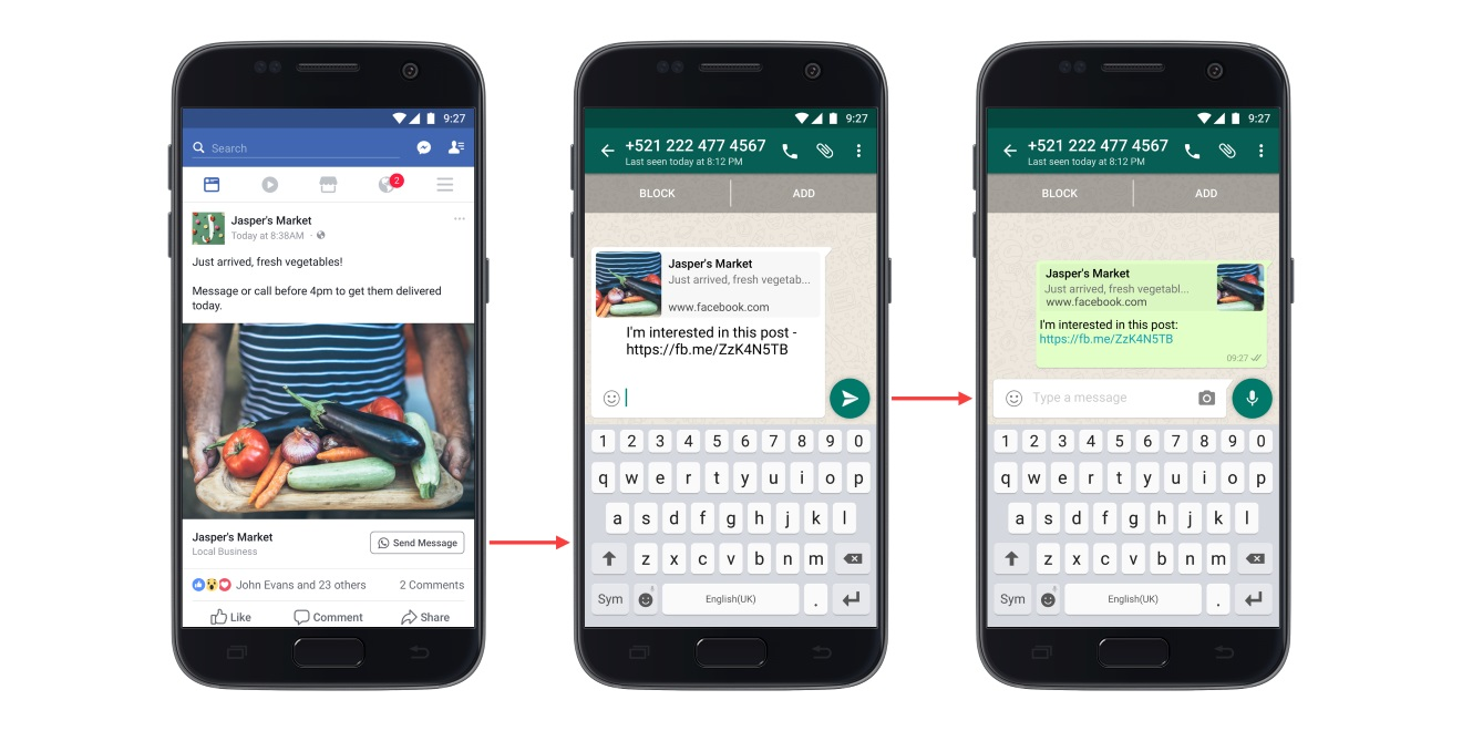 Facebook Pages Can Now Add Click-to-WhatsApp Buttons to Their