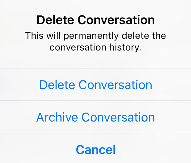 Facebook messenger heres how to delete or archive a conversation note if you want to archive a conversation you can also tap more instead of delete conversation in step 2 above and then tap archive on the menu ccuart Choice Image