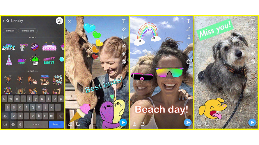 Users can now add giphys animated stickers to their snaps