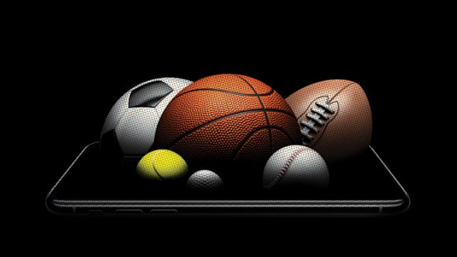 Soccer ball, basketball, tennis ball, golf ball, baseball and football on a phone screen