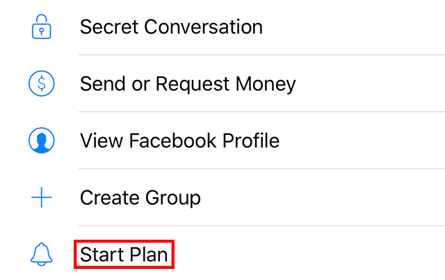 """The """"Start Plan"""" option is highlighted."""