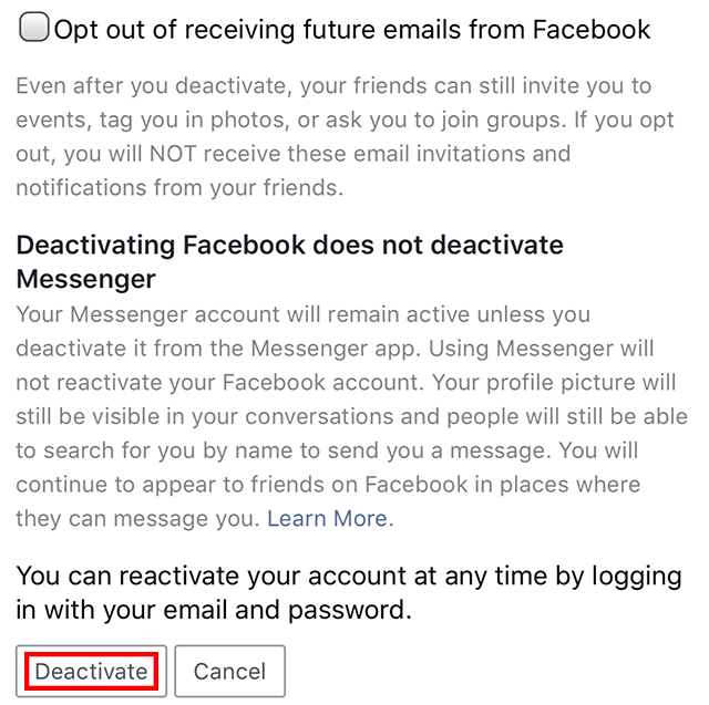 Facebook Login Delete Account