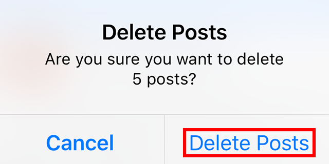 "The ""delete posts"" function is highlighted."