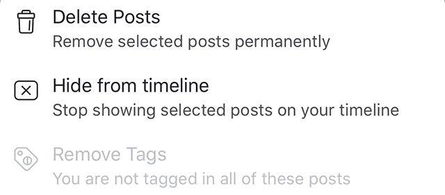 "The ""delete posts"" and ""hide from timeline"" options are shown."