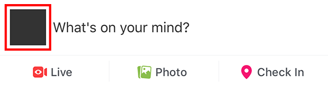"The profile icon near ""what's on your mind?"" box is shown."