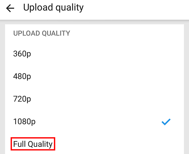 """The """"Fully Quality"""" option is highlighted."""