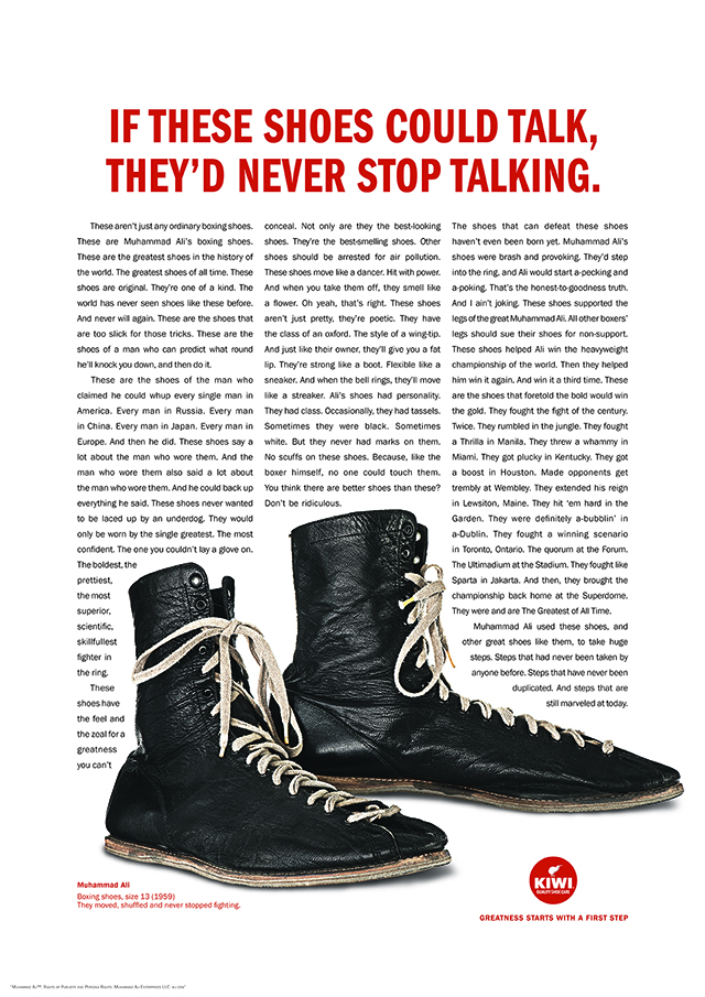 A pair of shoes is surrounded by text, implying that if they could talk, they would never stop.