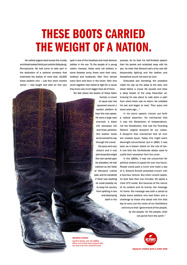 A pair of boots is surrounded by text.