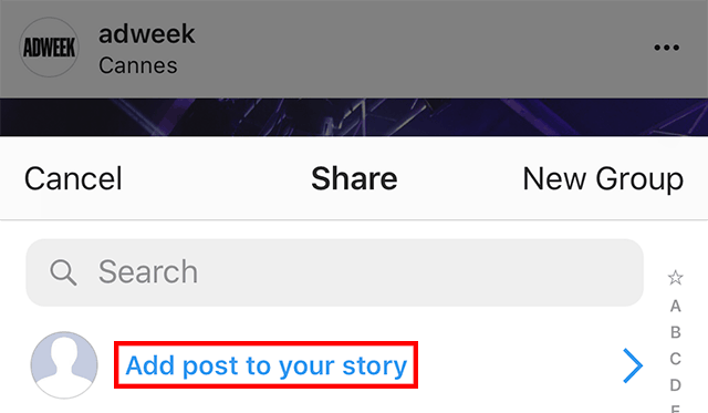 "The ""add post to your story"" function is highlighted."