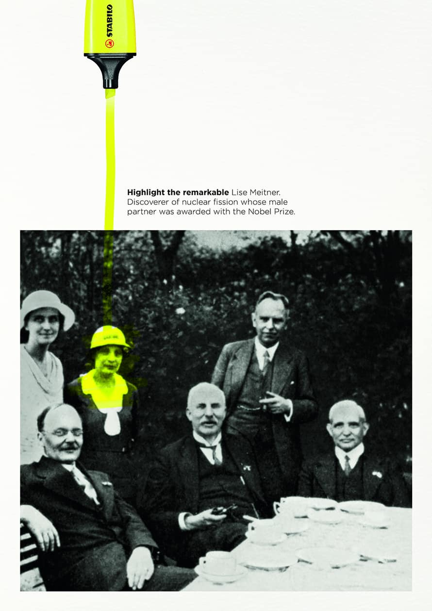 A highlighter runs through a picture of Lise Meitner