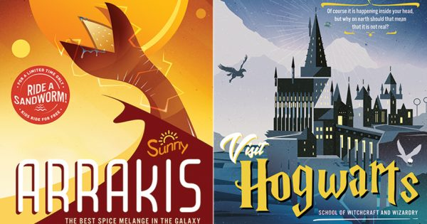 beloved novels become vintage travel posters in this