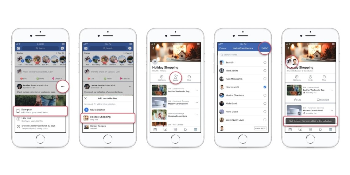 facebook collections can now be shared with other users who can