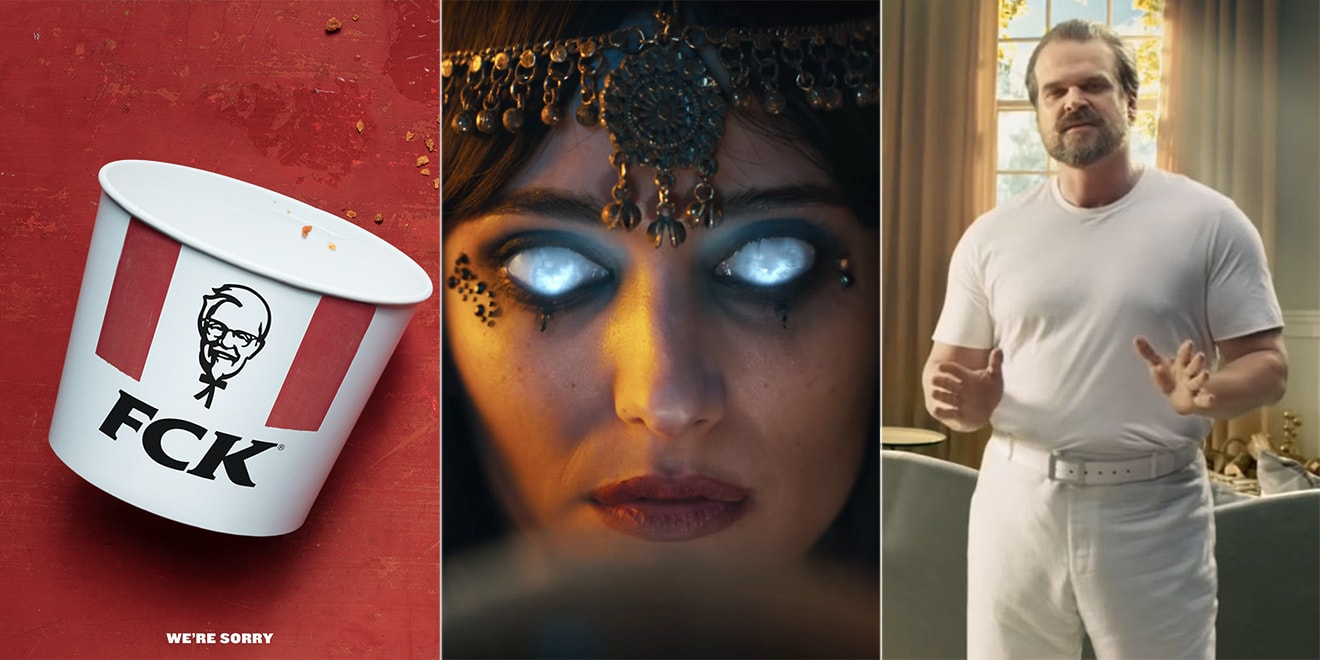 A KFC bucket, a woman with glowing eyes, and David Harbour from Stranger Things are included in some of the best ads.