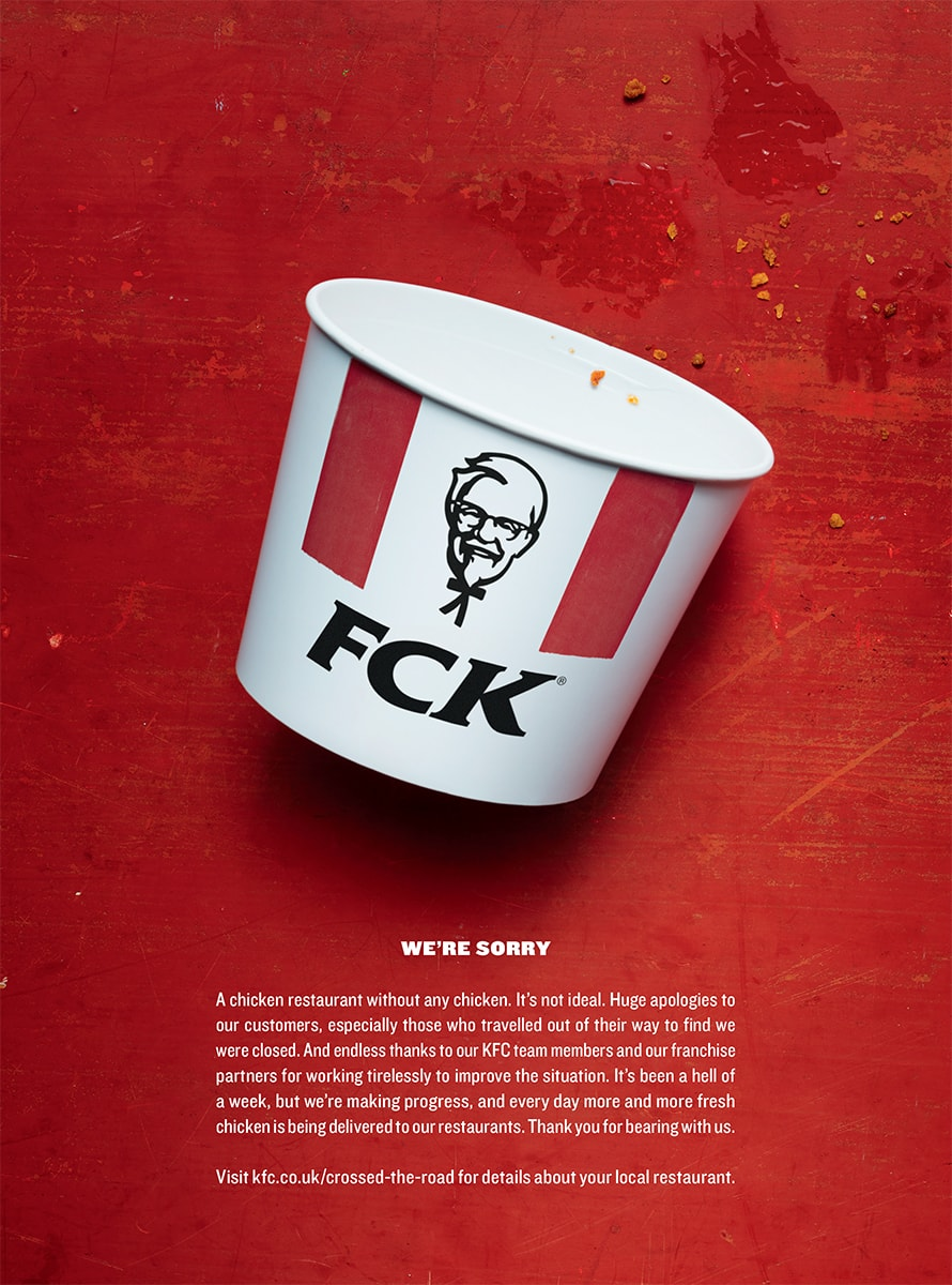 73dbe222ce55e A brilliant ad. A brilliant PR strategy. This print piece from London  agency Mother was a masterclass in both. When KFC s British operation faced  widespread ...