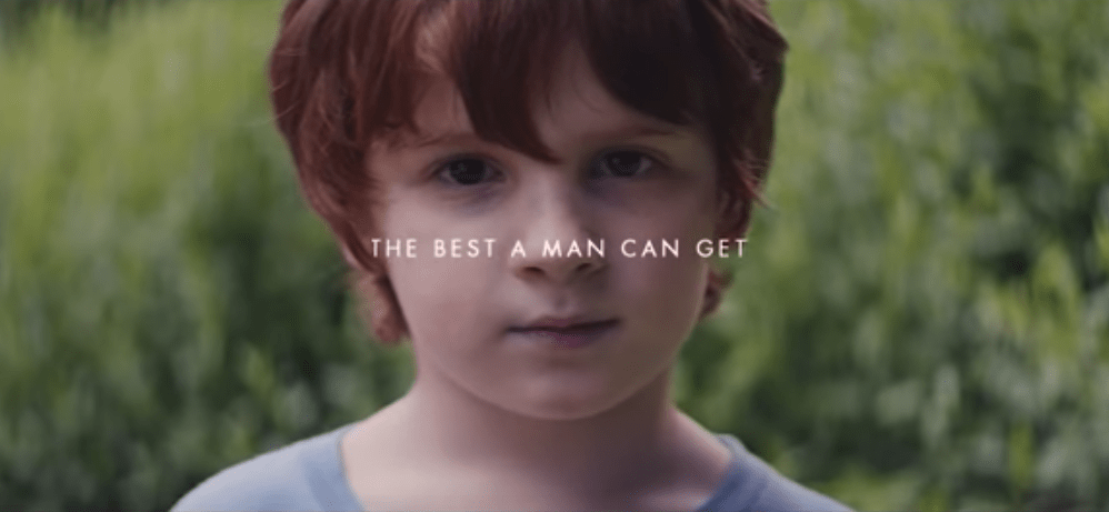 "Gillette's slogan ""The best a man can get"" is shown with a child."
