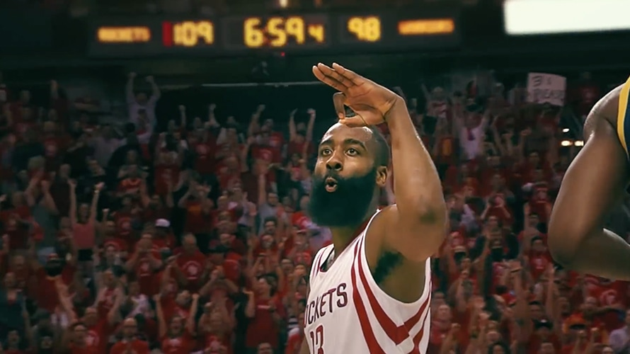 James Harden of the Houston Rockets celebrates after making a 3 pointer in a basketball game