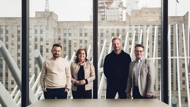 (L. to r.) Co-founder and chief product officer Andrew Shebbeare, global chief talent officer Jennifer Remling, global CEO Christian Juhl and North America CEO Steve Williams