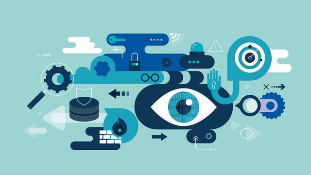 This image is seeking to depict privacy in the era of General Data Protection Regulation; there is an all seeing eye in the center; locks and magnifying glasses surround the watchful eye