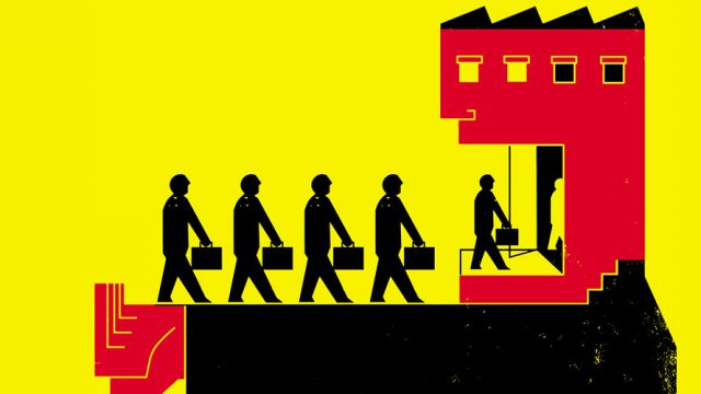 A group of people walk into a office with their briefcases in hand