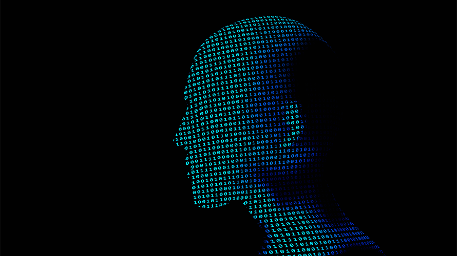 a black background; in the middle of the screen is a 3D image of a human head made of 1s and 0s