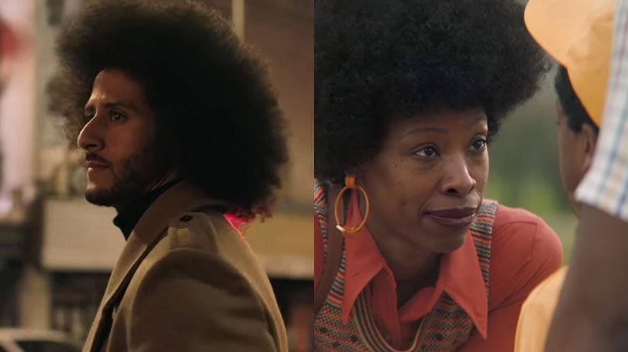 on the left is an image of Colin Kaepernick from a Nike commercial; on the right is an African American woman from a P&G advertisement