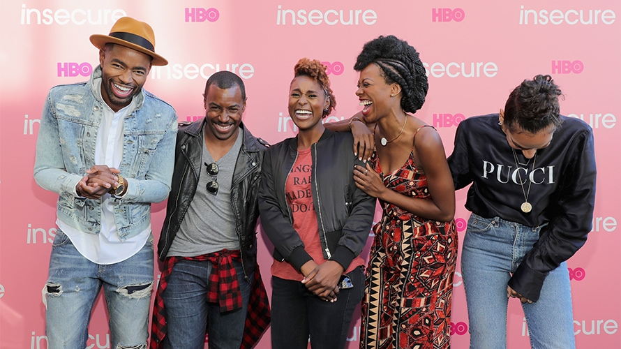 Issa Rae and the cast of Insecure on a red carpet